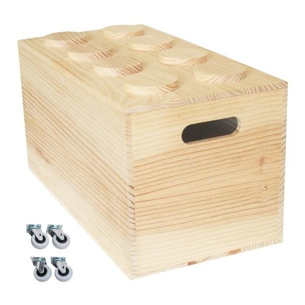 Pudełko na kółkach Wood Lego, 52x27x27 cm