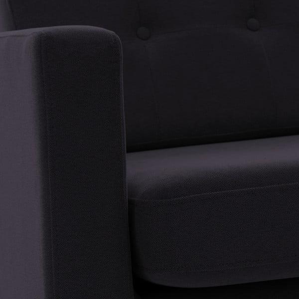 Sofa trzyosobowa VIVONITA Sondero Dark Grey, czarne nogi
