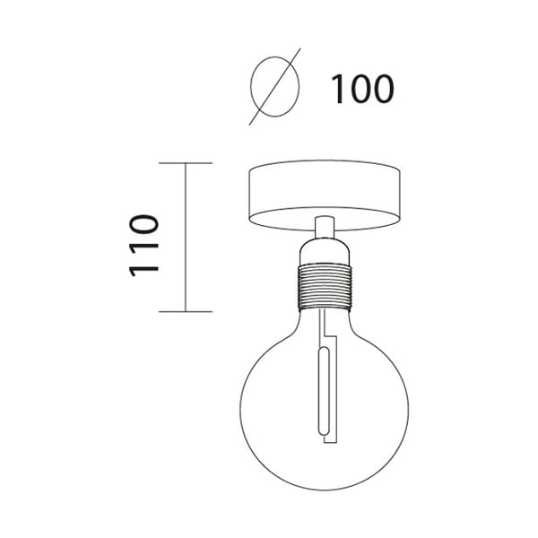 Czarna lampa sufitowa z oprawą żarówki w kolorze miedzi Bulb Attack Uno Basic