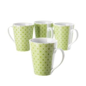 Zestaw 4 zielonych porcelanowych filiżanek Unimasa Mandall, 300ml