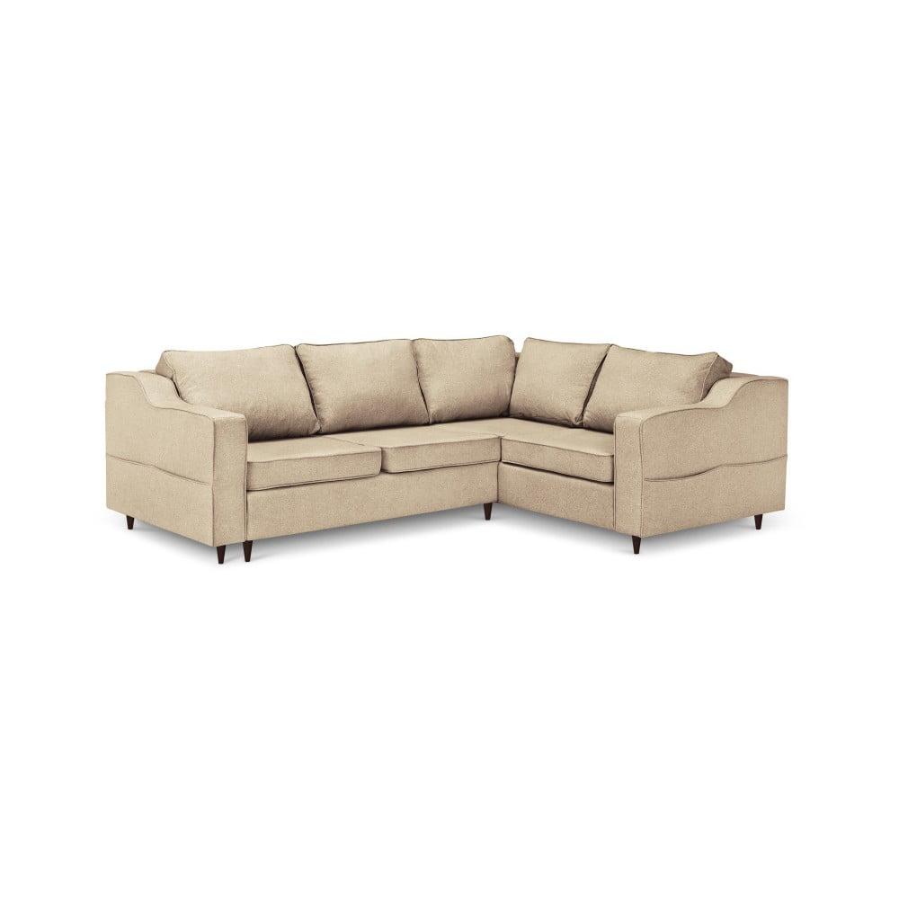 Beżowa 5-osobowa sofa rozkładana z miejscem do przechowywania Mazzini Sofas Narcisse, prawostronna