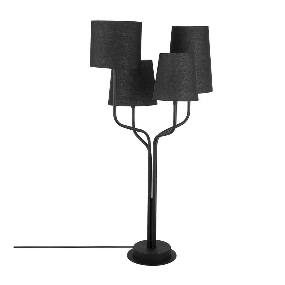 Czarna metalowa lampa stołowa z czarnym kloszem Opviq lights Aposto