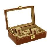 Brązowy kuferek na 10 zegarków Friedrich Lederwaren Cordoba
