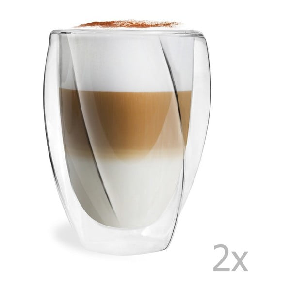 Zestaw 2 szklanek z podwójną ścianką Vialli Design Latte, 300 ml