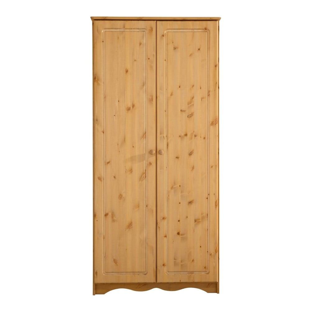 Brązowa 2-drzwiowa szafa z litego drewna sosnowego Støraa Amanda