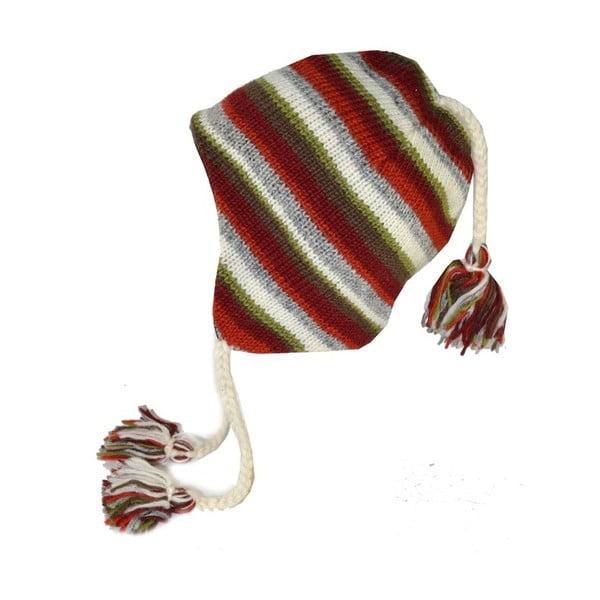 Czapka wełniana z uszami Colorfull Stripes