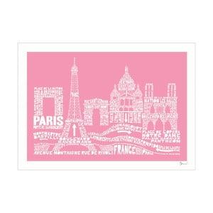 Plakat Paris Pink&White, 50x70 cm