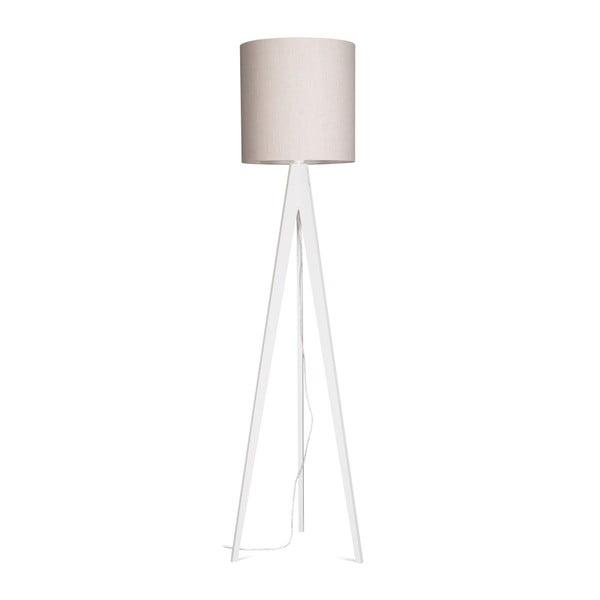 Kremowa lampa stojąca Artist, biała lakierowana brzoza, 158 cm