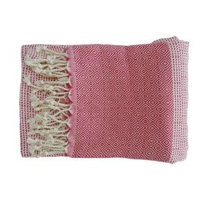 Czerwony ręcznie tkany ręcznik z bawełny premium Damla,100x180 cm
