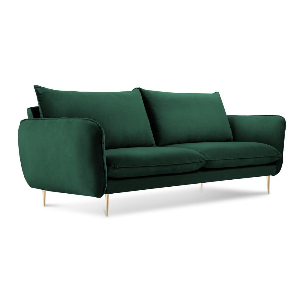 Butelkowozielona sofa z aksamitnym obiciem Cosmopolitan Design Florence
