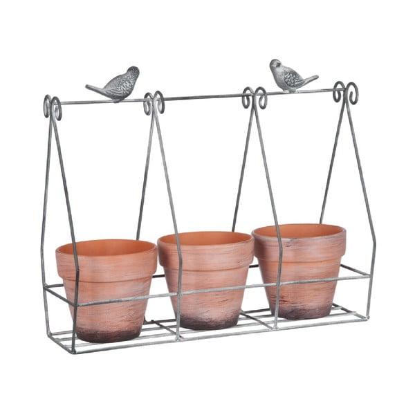 Zestaw 3 doniczek na stojaku Rack
