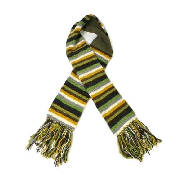 Wełniany szalik z polarową podszewką Green Stripes