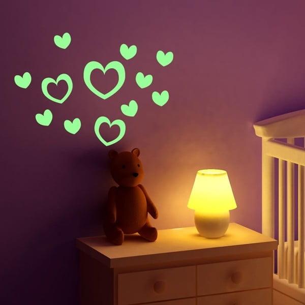 Zestaw 10 świecących naklejek Fanastick Hearts