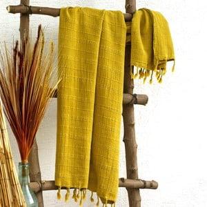 Ręcznik hamam Peshtemal Mustard, 90x165 cm