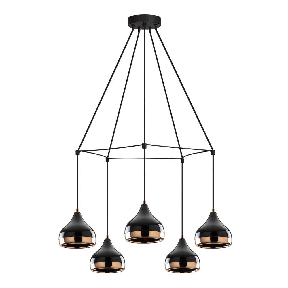 Czarna lampa wisząca z 5 kloszami z elementami w kolorze miedzi Opviq lights Yildo Web