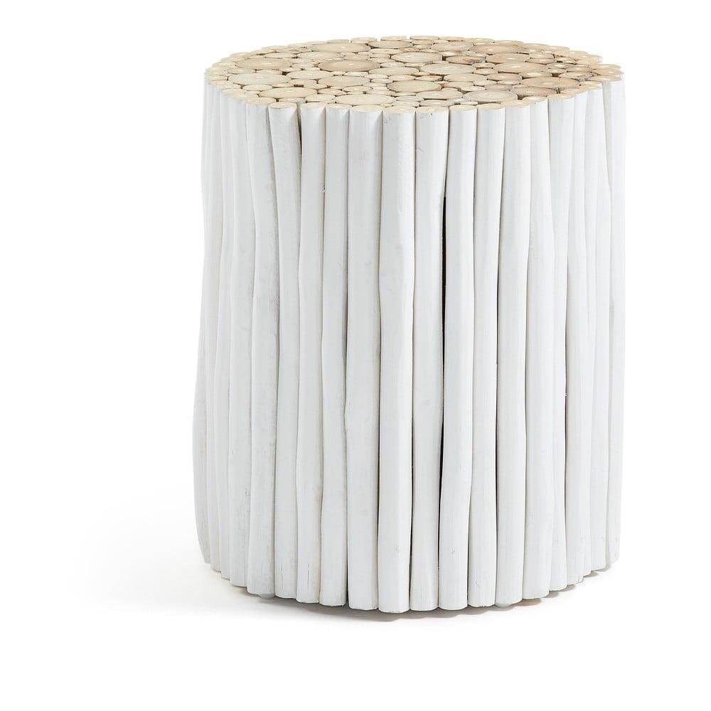 Biały stołek z drewna tekowego La Forma Filippo, ⌀35cm