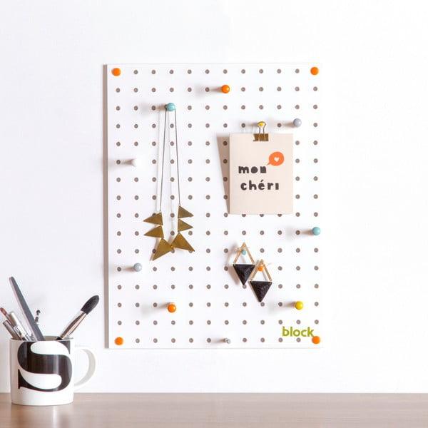 Biała tablica wielofunkcyjna Pegboard Small, 40,5x30cm