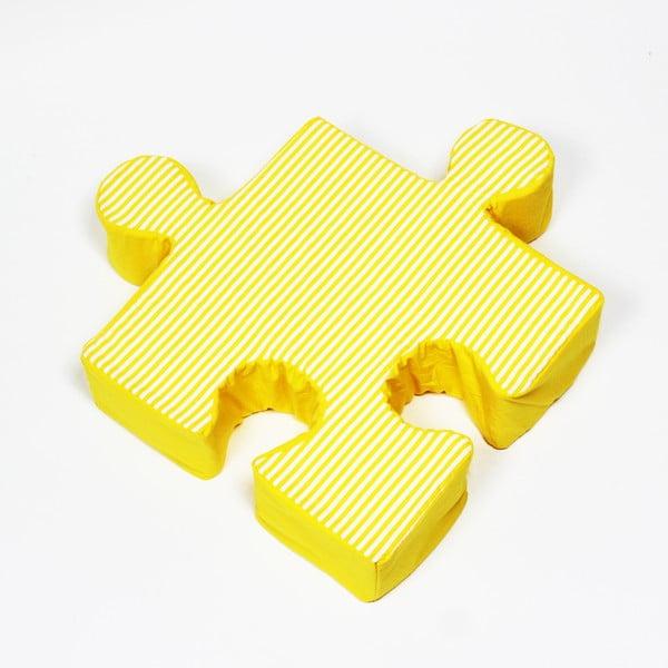 Żółta poduszka Puzzle Stripes