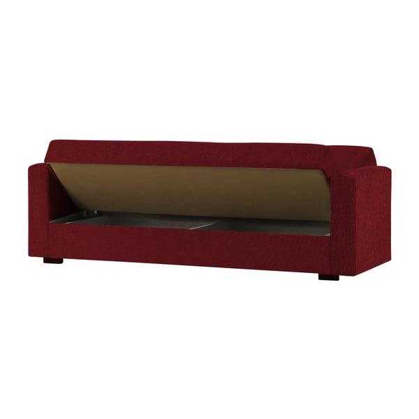 Czerwona trzyosobowa sofa rozkładana ze schowkiem Esidra Relax