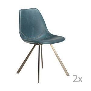 Zestaw 2 niebieskich krzeseł z nogami w kolorze złota DAN– FORM Pitch