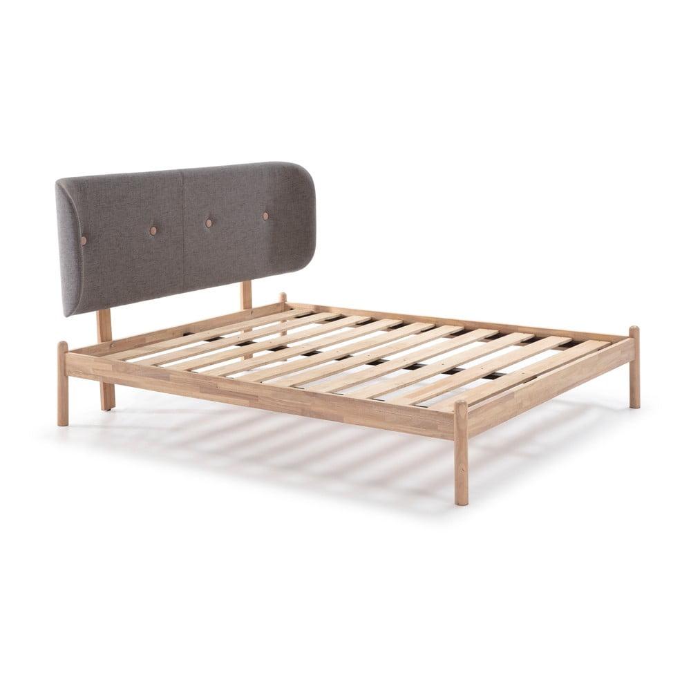 Łóżko drewniane z ciemnoszarym zagłówkiem Marckeric Ellie, 140x200 cm