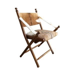 Krzesło z drewna tekowego i koziej skóry Orchidea Milano Sion