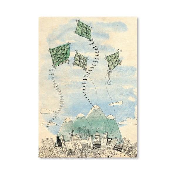 Plakat Four Happy Kites, 30x42 cm