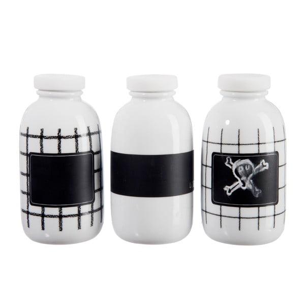Zestaw 3 porcelanowych buteleczek B&W, duży
