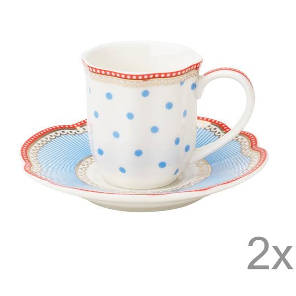 Porcelanowa filiżanka na espresso ze spodkiem Seaside Lisbeth Dahl, 2 szt.