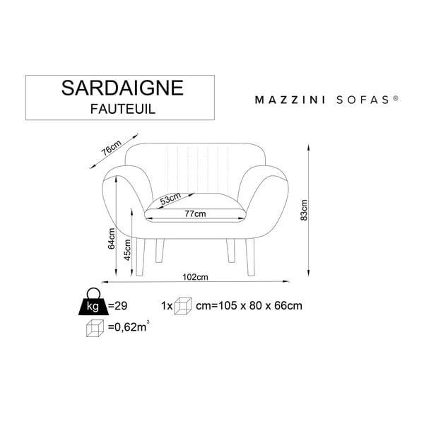 Szary fotel z jasnymi nogami Mazzini Sofas Sardaigne