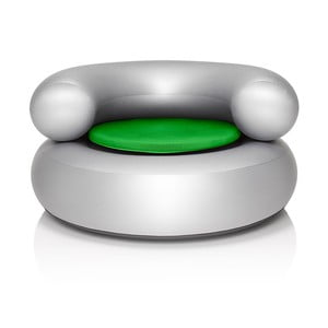 Fotel dmuchany CH-AIR, srebrny z zieloną poduszką