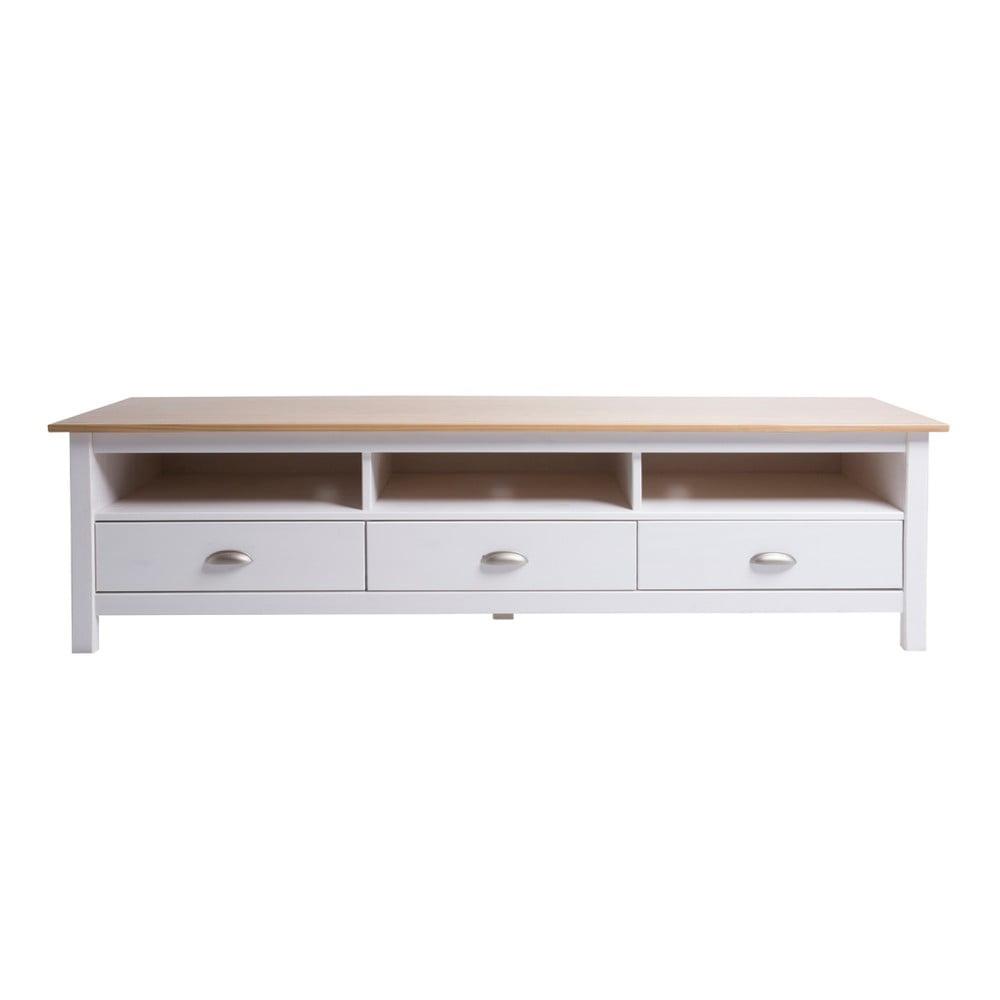 Biała szafka pod TV z litego drewna sosnowego Marckeric Jade