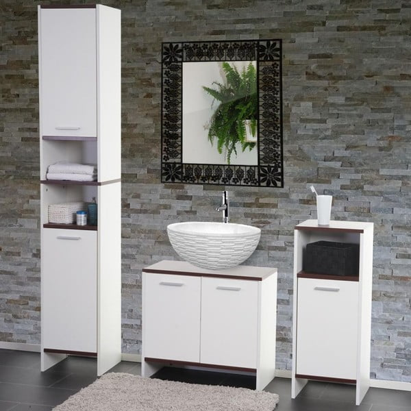 Szafka łazienkowa Sonoma White/Brown, 28x32x82 cm