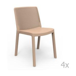 Zestaw 4 beżowych krzeseł ogrodowych Resol Fresh