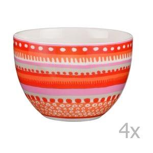Komplet 4 miseczek porcelanowych Oilily 10 cm, czerwony