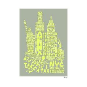 Plakat New York Grey&Yellow, 50x70 cm