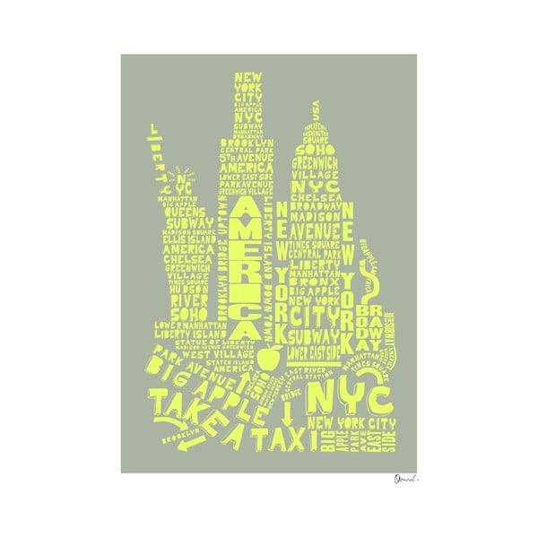 Plakat New York Grey&Yellow, 50x70 cm