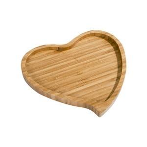 Bambusowy półmisek Aminda Heart, szerokość 19cm