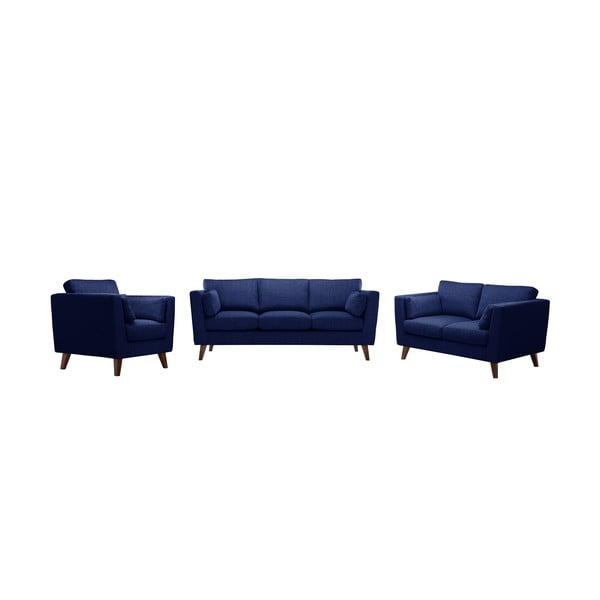 Zestaw fotela i 2 sof dwuosobowej i trzyosobowej Elisa, granatowe