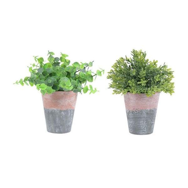 Zestaw 2 ceramicznych doniczek ze sztucznym kwiatem