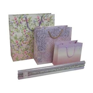 Zestaw: 3 torebki na prezent i papier do pakowania Charming Garden