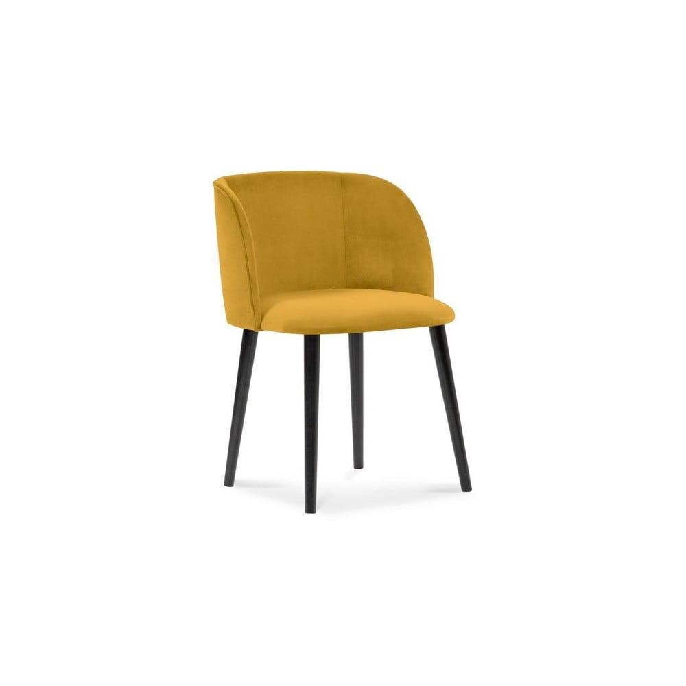 Żółte krzesło z aksamitnym obiciem Windsor & Co Sofas Aurora