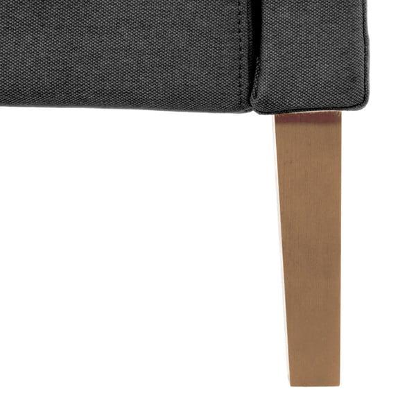 Ciemnoszare łóżko z naturalnymi nóżkami Vivonita Windsor, 140x200 cm
