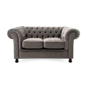 Szara sofa dwuosobowa Vivonita Chesterfield