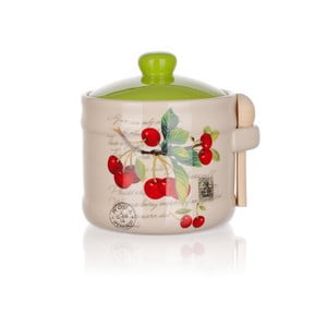 Ceramiczny pojemnik z łyżeczką Banquet Cherry, 400 ml