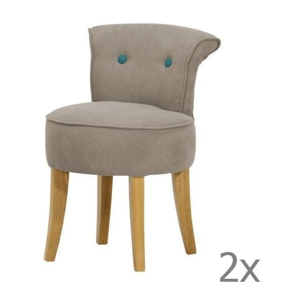 Komplet 2 krzeseł George Soro Grey z turkusowymi guzikami