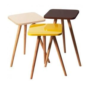 Zestaw 3 stolików Kate Louise Square (żółty, kremowy, brązowy)