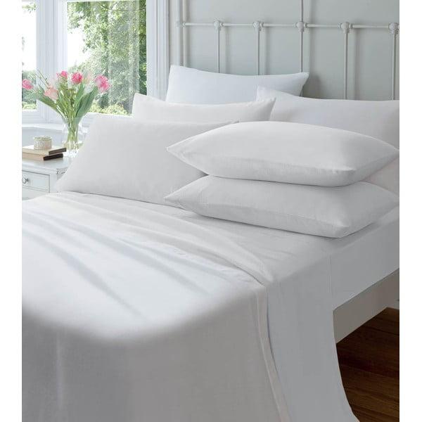 Prześcieradło elastyczne Plain Flette White, 180x200 cm