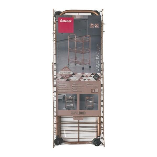 Regał na kółkach z 3 półkami w kolorze miedzi Metaltex