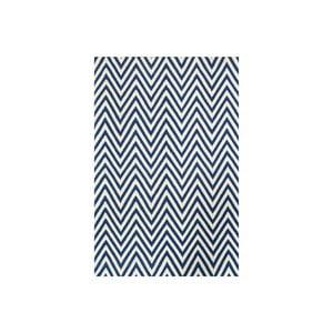 Dywan wełniany Zig Zag Dark Blue, 240x155 cm